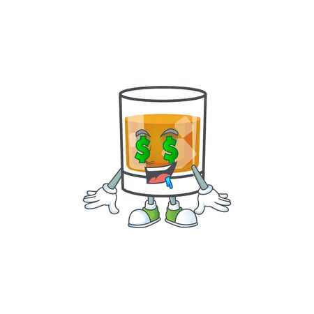 Beverage cold whiskey cartoon character isolated money eye.