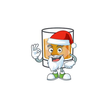 Beverage cold whiskey cartoon character isolated santa claus.