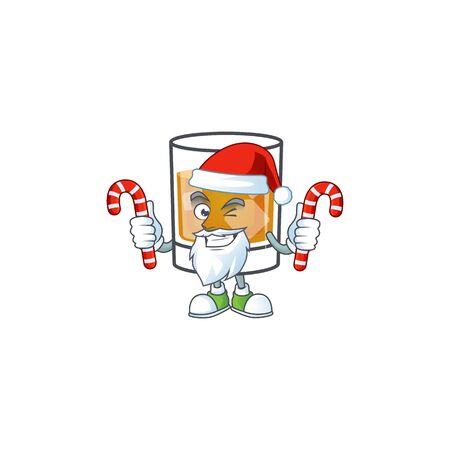 Beverage cold whiskey cartoon character isolated santa bring candy. Ilustrace