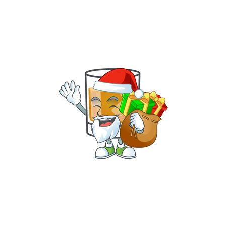 Beverage cold whiskey cartoon character isolated santa bring gift.