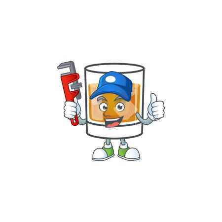 Beverage cold whiskey cartoon character isolated plumber.