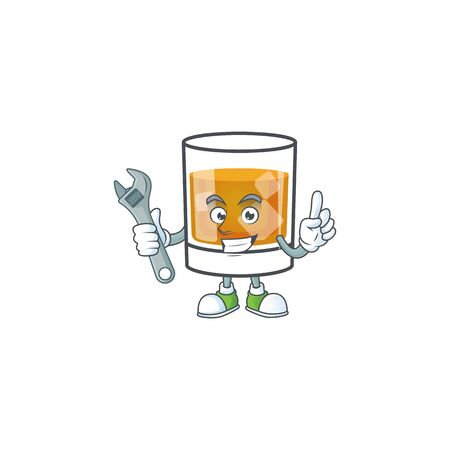 Beverage cold whiskey cartoon character isolated mechanic.