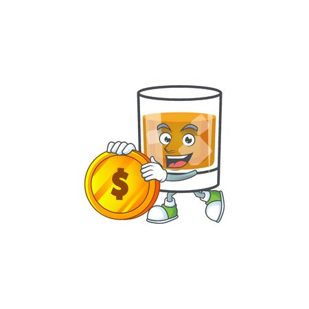 Beverage cold whiskey cartoon character isolated bring coin.