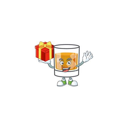 Beverage cold whiskey cartoon character isolated bring gift.