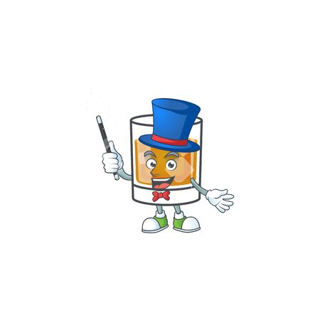 Beverage cold whiskey cartoon character isolated magician. Foto de archivo - 133519712