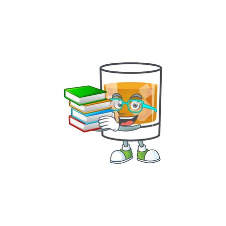 Beverage cold whiskey cartoon character isolated student bring book. 向量圖像