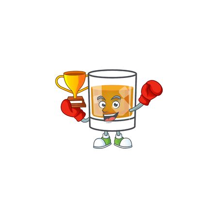 Beverage cold whiskey cartoon character isolated boxing winner.