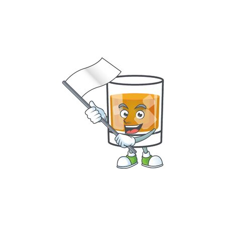 Beverage cold whiskey cartoon character isolated bring flag. Ilustrace