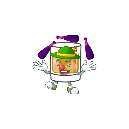 Beverage cold whiskey cartoon character isolated juggling. Ilustrace