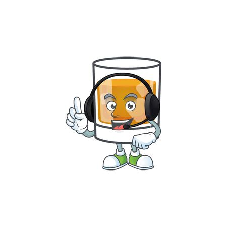 Beverage cold whiskey cartoon character isolated with headphone. Ilustrace