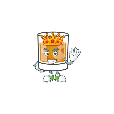 Beverage cold whiskey cartoon character isolated king.