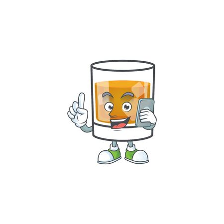 Liquor whiskey in the cartoon character with holding phone.