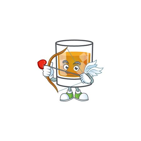 Liquor whiskey in the cartoon character cupid. Stock Illustratie