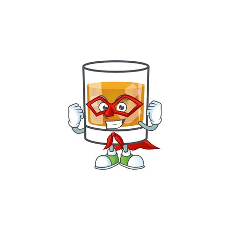 Whiskey in the glass with super hero mascot