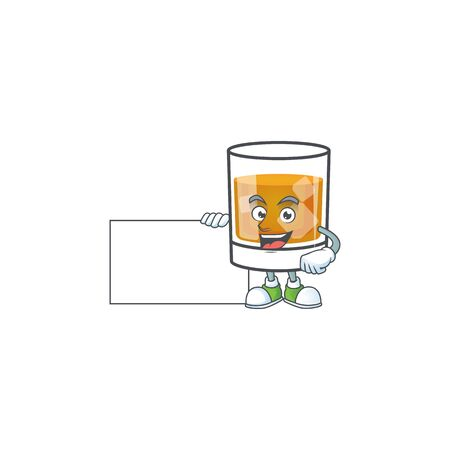 Liquor whiskey in the cartoon character grinning with board.