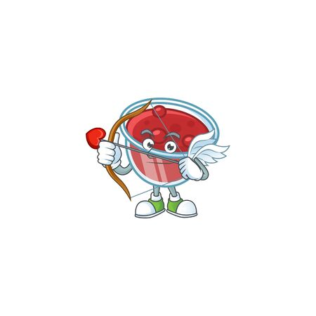Canberries sauce icon in character shape cupid. Vector illustration Çizim