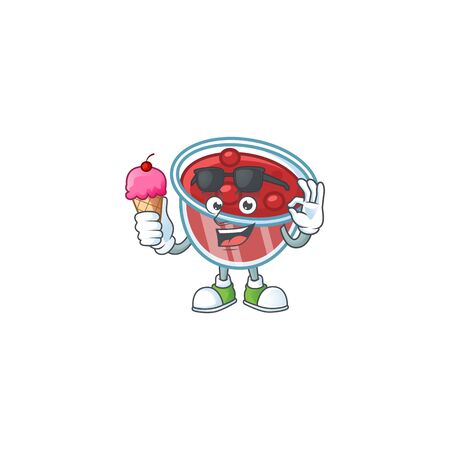 Canberries sauce with ice cream mascot on white background vector illustration
