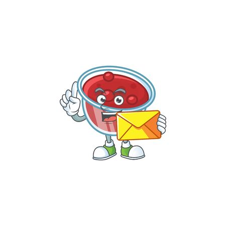 Canberries sauce with bring envelope mascot on white background vector illustration