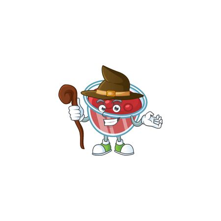 Fresh canberries sauce with witch cartoon character. Vector illustration Illustration