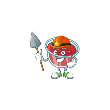 Fresh canberries sauce with miner cartoon character. Vector illustration Stock Illustratie