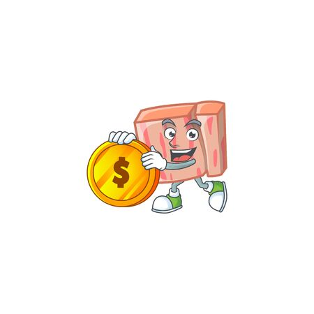 Cartoon meat in the character mascot bring coin vector illustration Vectores