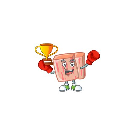 Cartoon meat in the character mascot boxing winner vector illustration
