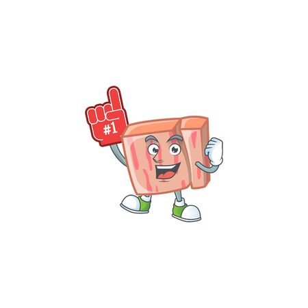 Cartoon meat in the character mascot foam finger vector illustration Illustration