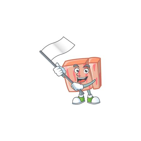 Cartoon meat in the character mascot bring flag vector illustration Illustration