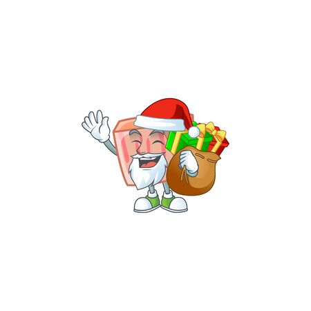 Cartoon meat in the character mascot santa bring gift vector illustration
