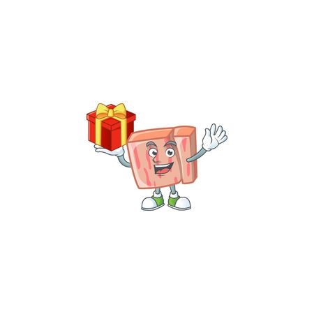 Cartoon meat in the character mascot bring gift vector illustration