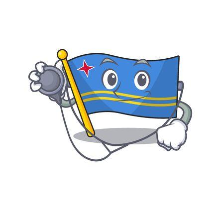 doctor flag aruba isolated with the cartoon