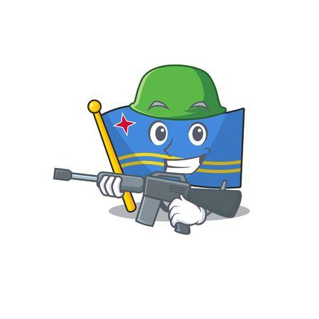 army flag aruba isolated with the cartoon