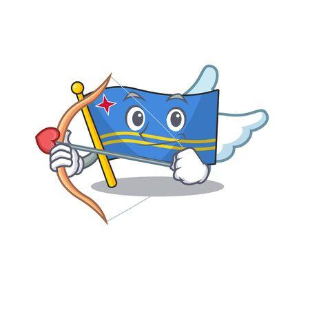 cupid flag aruba isolated with the cartoon