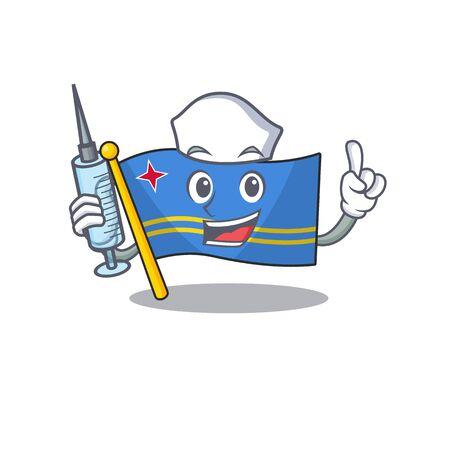 cute nurse aruba flag with character shape