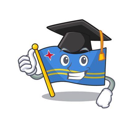 cute graduation hat aruba flag with character shape
