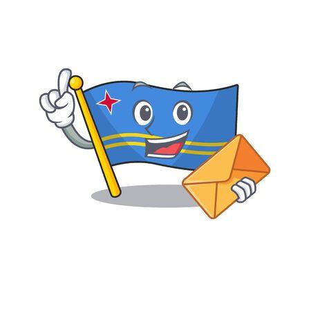 cute bring envelope aruba flag with character shape