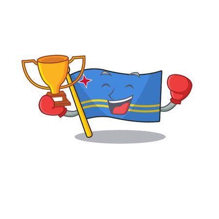 flag aruba character boxing winner cartoon style mascot Ilustrace