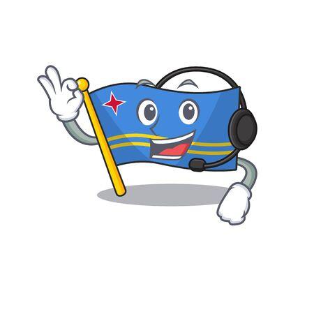 flag aruba character with headphone cartoon style mascot