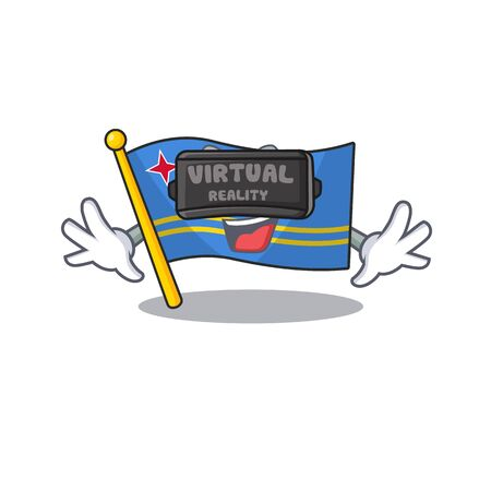 flag aruba smiling in with cartoon virtual reality