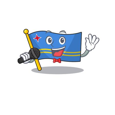 flag aruba smiling in with cartoon singing Иллюстрация