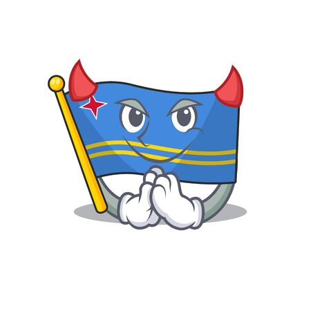 flag aruba smiling in with cartoon devil Иллюстрация