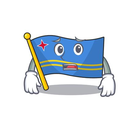 flag aruba smiling in with cartoon afraid Иллюстрация