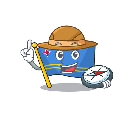 flag aruba smiling in with cartoon holding compass