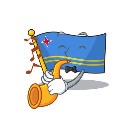 flag aruba smiling in with cartoon with trumpet