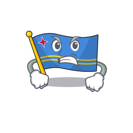 flag aruba smiling in with cartoon angry Иллюстрация