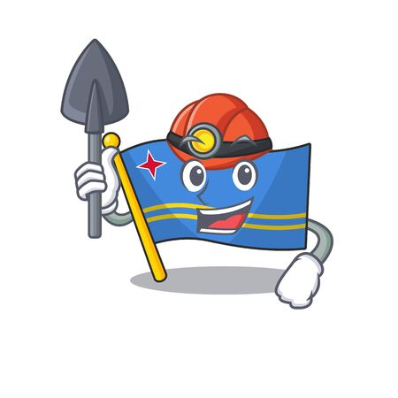 flag aruba smiling in with cartoon miner Иллюстрация