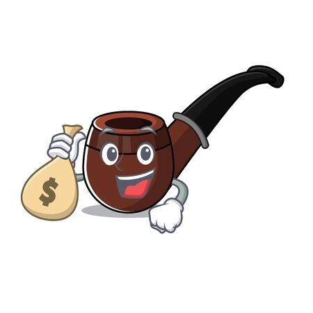 Funny smoke pipe in holding money bag cartoon character