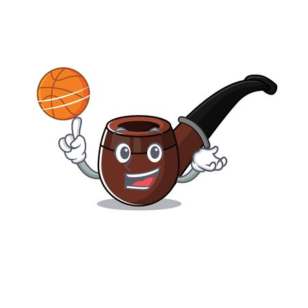 Funny smoke pipe in holding basketball cartoon character Illusztráció