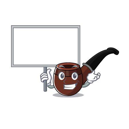 Funny smoke pipe in bring board cartoon character