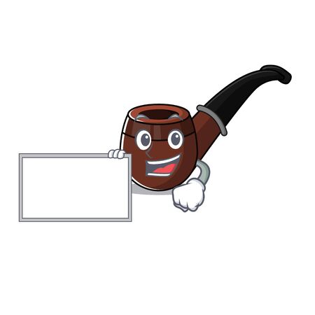 Funny smoke pipe in with board cartoon character